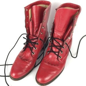 Justin western red leather combat style calf boots